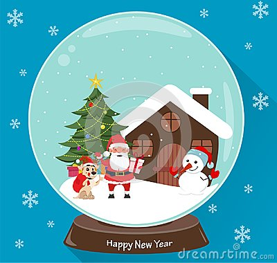 Santa Claus, Christmas tree, snowman, cute dog, presents and house, scene in snow globe