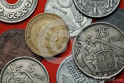 Coins of Spain. Spanish dictator Francisco Franco