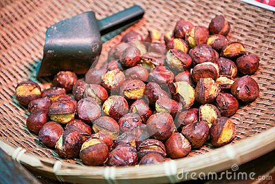 Roast chestnuts on basket