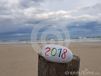 Happy New Year 2018 with a painted stone