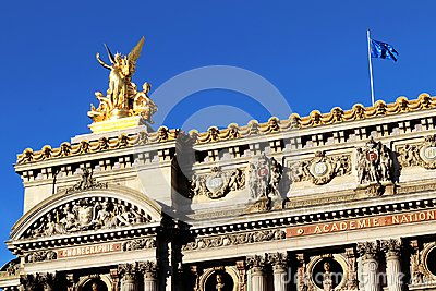 Grand Opera Paris Garnier golden statue on the rooftop and facade front view france