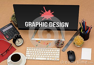 stock image of graphic design office concept image with stationey items