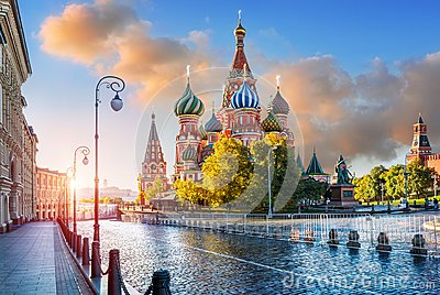 St. Basil`s Cathedral with lanterns on Red Square