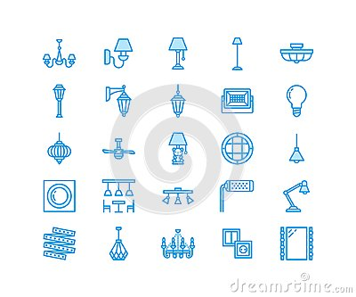 Light fixture, lamps flat line icons. Home and outdoor lighting equipment - chandelier, wall sconce, bulb, power socket