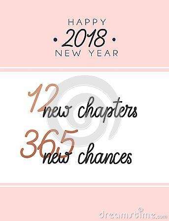 12 new chapters 365 new chances new year card. trendy pink desig