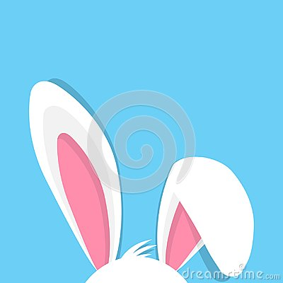 Happy Easter with bunny ears On blue Background