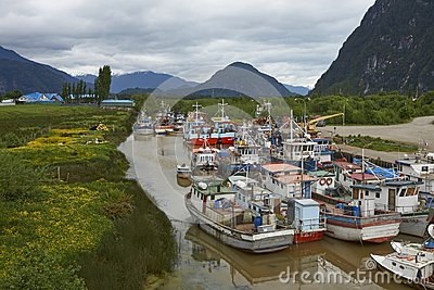 Fishing boats in Puerto Aysen, Patagonia, Chile
