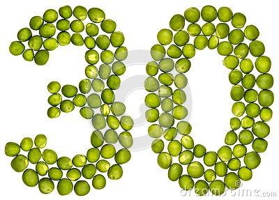 Arabic numeral 30, thirty, from green peas, isolated on white ba