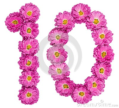 Arabic numeral 10, ten, from flowers of chrysanthemum, isolated