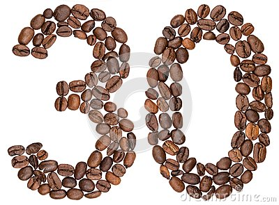 Arabic numeral 30, thirty, from coffee beans, isolated on white