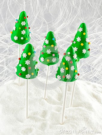 Christmas cake pops with decorations