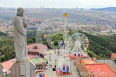 Tibidabo Amusement Park and the City of Barcelona seen from Sagrat Cor Church, Barcelona, Catalonia, Spain