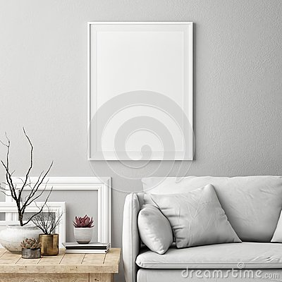 Mock up poster in Nordic living room interior,White comfortable sofa with furniture,