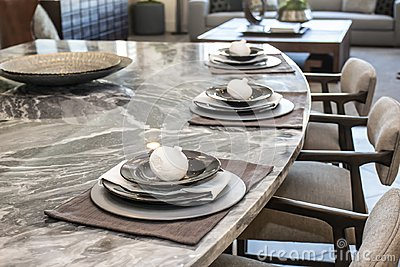 Decorative Place Settings On Counter Bar
