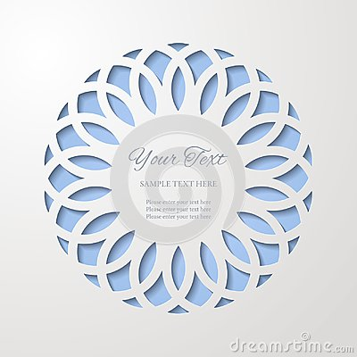 Round lace cutout frame with shadow on blue background. Paper cut 3d ornamental border.