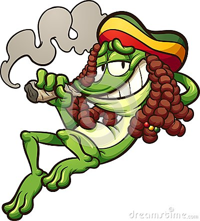 Rasta frog smoking weed