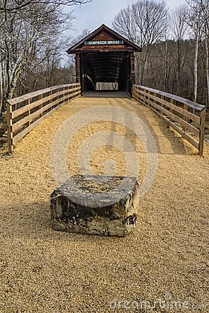 A Frontal View of the Humpback Covered Bridge, Virginia, USA