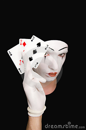 Portrait of  mime with playing cards