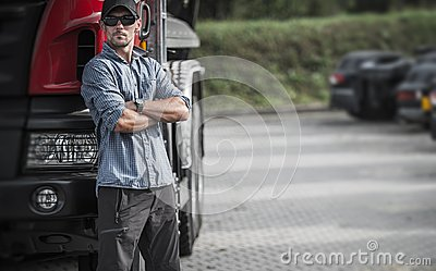 Trucker and His Semi Truck