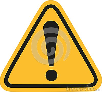 Yellow warning sign with exclamation mark