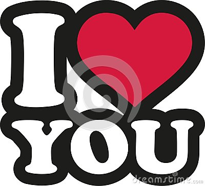 I love you - lettering cartoon