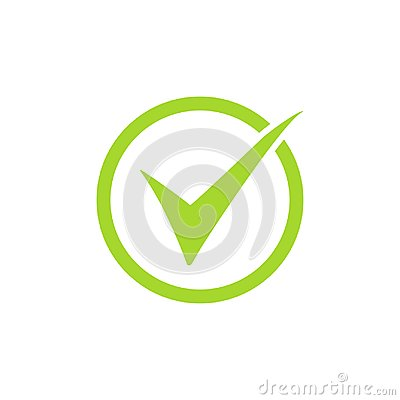 Tick icon vector symbol, green checkmark isolated on white background, checked icon or correct choice sign, check mark or checkbox