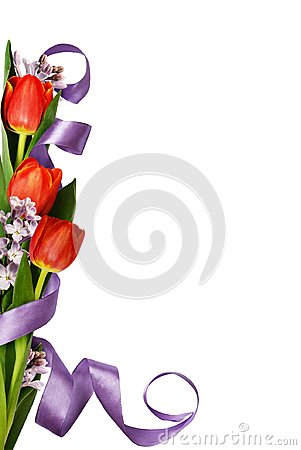 Red tulips with lilac flowers and silk ribbon in corner spring a