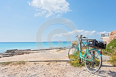Formentera beach and bicycle