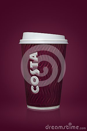AMMAN, JORDAN, 26 August 2017: Costa Coffee cup, Costa Coffee is a British multinational coffeehouse company headquartered in Duns