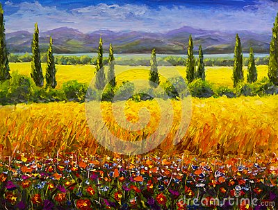 Oil painting Italian summer tuscany landscape, green cypresses bushes, yellow field, red flowers, mountains and blue sky artwork o