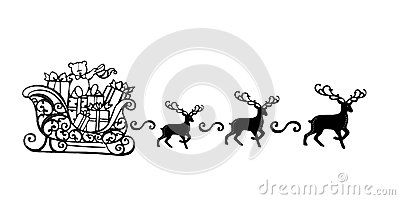 Santa Claus with Reindeer Sleigh Symbol Black Silhouette