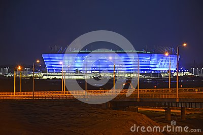 KALININGRAD, RUSSIA. Evening illumination of Baltic Arena stadium for holding games of the FIFA World Cup of 2018