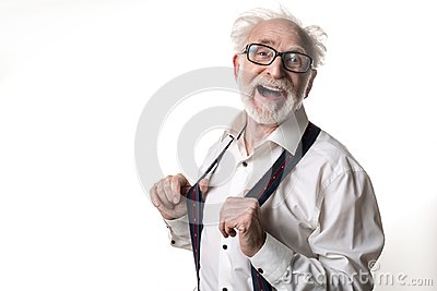 Sprightly old man fooling around
