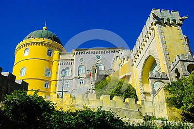 Sintra Pena National Palace Facade and Moorish Gate, Travel Lisbon, Portugal