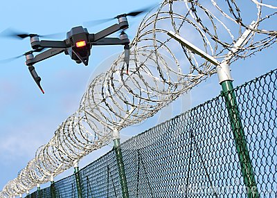 Drone security on state border or restricted area.