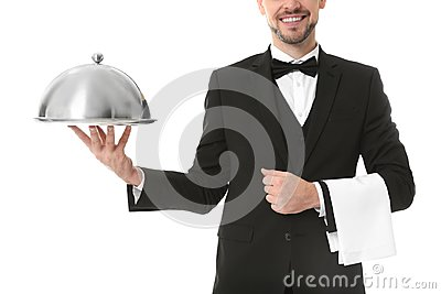 Waiter with metal tray and cloche