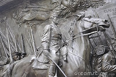 Memorial Robert Gould Shaw and 54th Regiment from Boston in Massachusettes State of USA