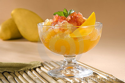 Mango Sorbet with Chili Sauce