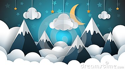 stock image of mountain landscape paper illustration. cloud, star, moon, sky.