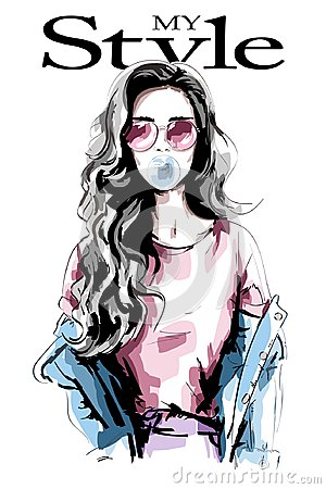 Hand drawn young woman with chewing gum. Beautiful woman portrait. Cute girl with long hair. Fashion woman in casual clothing.