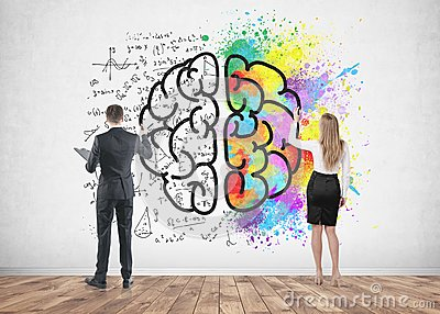 Business people drawing brain on concrete