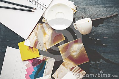 Office desk with spilt coffee