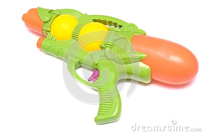 Green toy water gun against a white backdrop