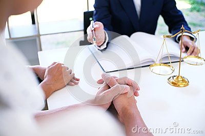 Legal counsel presents to the client a signed contract with gave
