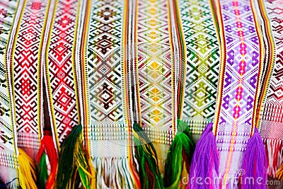 Details of a traditional colorful Lithuanian weave. Woven belts as a part of national Lithuanian costume.