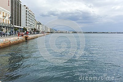 THESSALONIKI, GREECE - SEPTEMBER 30, 2017: Amazing view of embankment of city of Thessaloniki, Central Macedonia