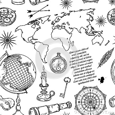 Seamless pattern with globe, compass, world map and wind rose.