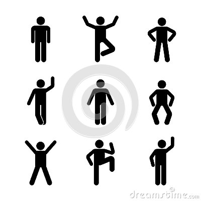 Man people various standing position. Posture stick figure. Vector illustration of posing person icon symbol sign pictogram.