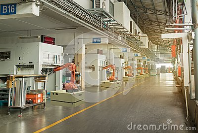 stock image of iot smart industry 4.0 concept. automation robotic arm working in operation machine zone in factory, robot using in industrial man