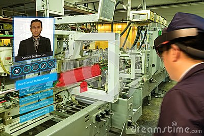 stock image of iot smart industry 4.0 concept. industrial engineerblurred using smart glasses with augmented mixed virtual reality technology t